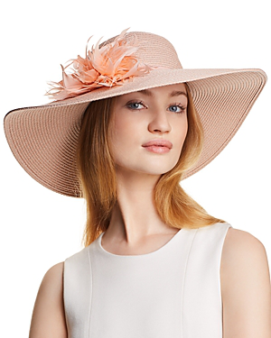 369d987d August Hat Company Dress Me Up Feather-Trim Floppy Hat In Blush ...