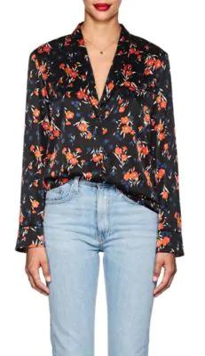 A.L.C . Leomie Floral Stretch-Silk Blouse In Black