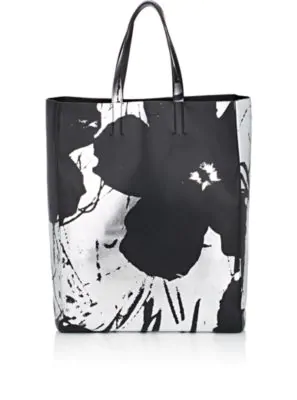 153e1e097 Calvin Klein 205W39Nyc Andy Warhol Soft Floral Leather Tote In Black ...