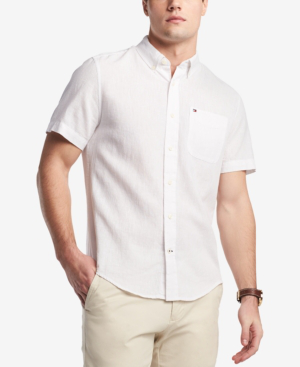 Tommy Hilfiger Men's Porter Linen Shirt, Created For Macy's In Bright White