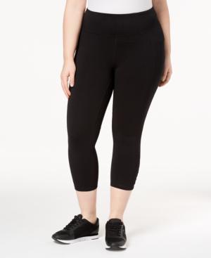Calvin Klein Performance Plus Size High-Waist Cutout Cropped Leggings In Black