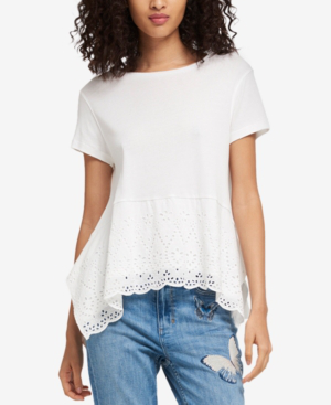 Dkny Cotton Eyelet Top In White