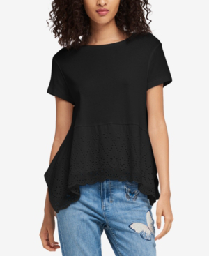 Dkny Cotton Eyelet Top In Black