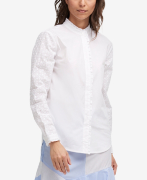 Dkny Eyelet-Trim Button-Down Shirt In White