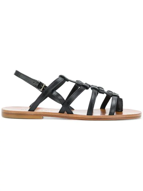 Robert Clergerie Flat Strappy Sandals In Black