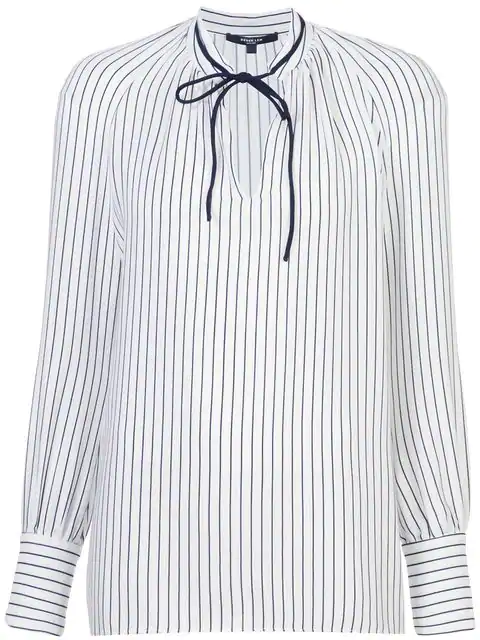Derek Lam Sonia Stripped Long Sleeve Blouse In White Navy