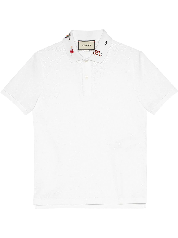 9dc3c8d5f Gucci Embroidered-Collar Cotton-Blend PiquÉ Polo Shirt In White ...