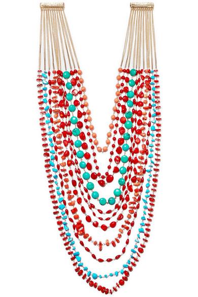 Rosantica Prato Fiorito Gold-Tone Beaded Necklace In Red