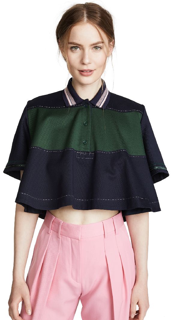 Carven Cropped Polo Top In Abysse