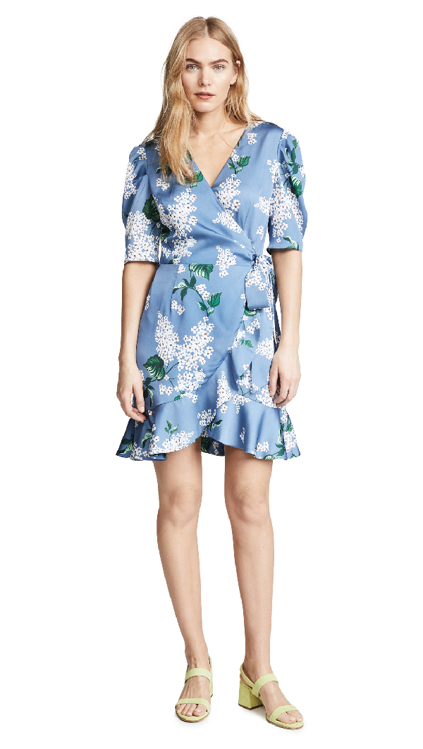 62fc295b7274 Keepsake This Moment Wrap Dress In Dusty Blue Floral | ModeSens
