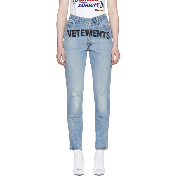 b8800761126 Vetements Levi s Slim Fit Logo Printed Denim Jeans In Blue