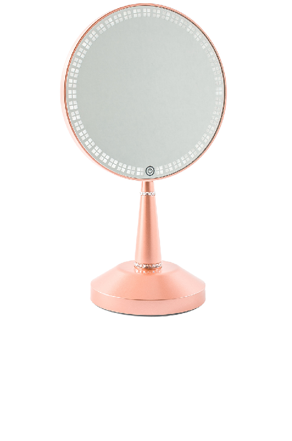 Impressions Vanity Bijou Led Hand Mirror With Charging Stand In Rose Gold Modesens