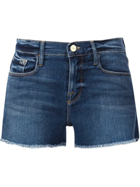 Frame 'le Cut Off Williams' Raw Edge Cuff Denim Shorts In Dark Denim