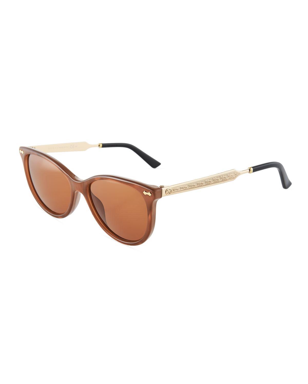 Gucci Round Plastic Sunglasses In Brown