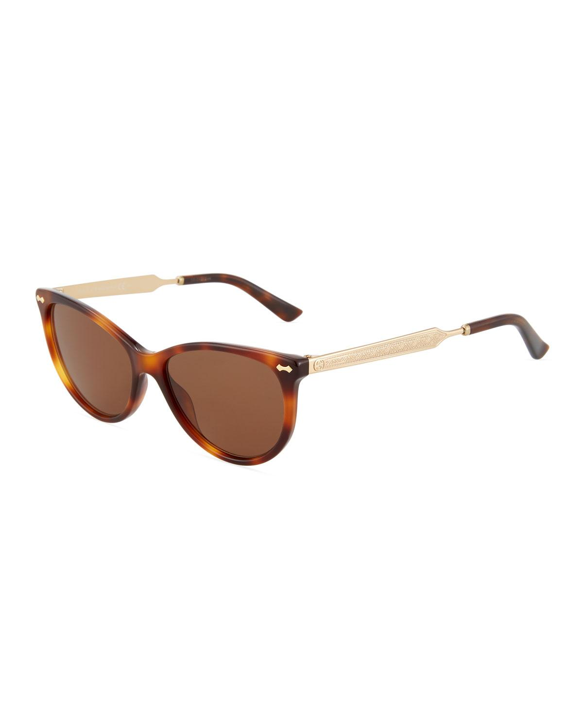 Gucci Round Plastic/Metal Sunglasses In Gold