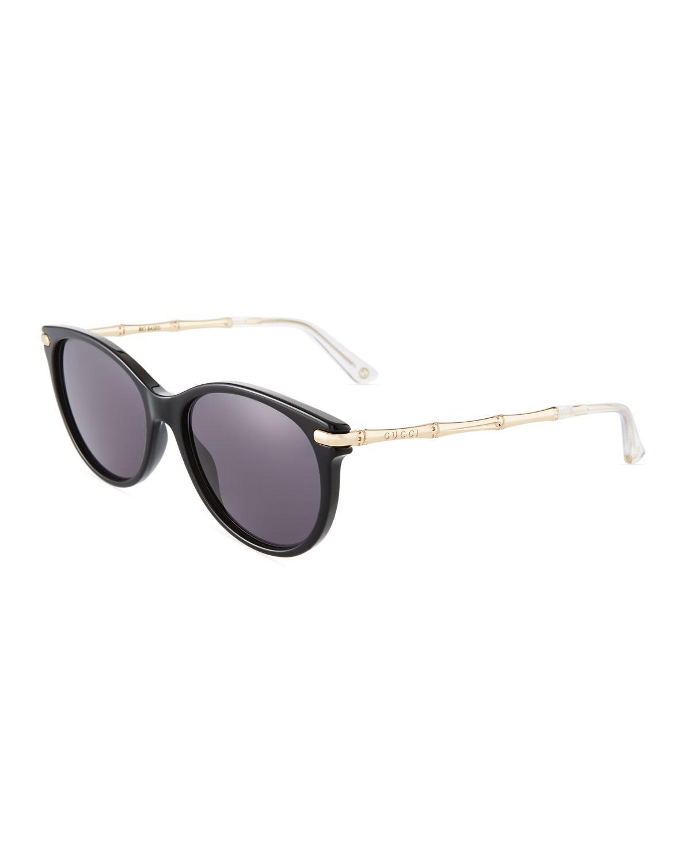 65afac6f8 Gucci Round Plastic/Metal Sunglasses In Black/Gold | ModeSens