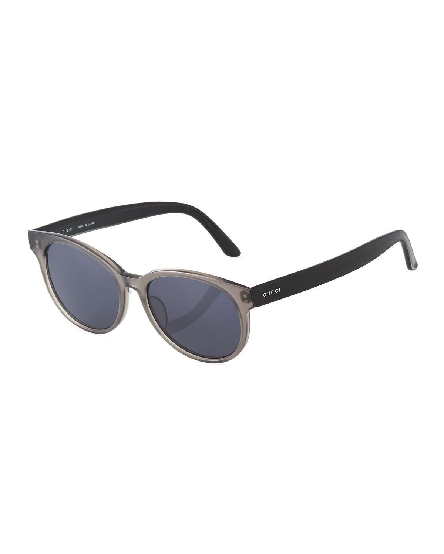 Gucci Round Plastic Sunglasses In Black/Gray