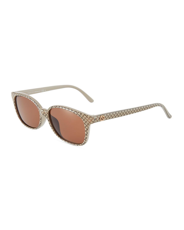 c00e42b472c0d Gucci Round Plastic Sunglasses In Beige