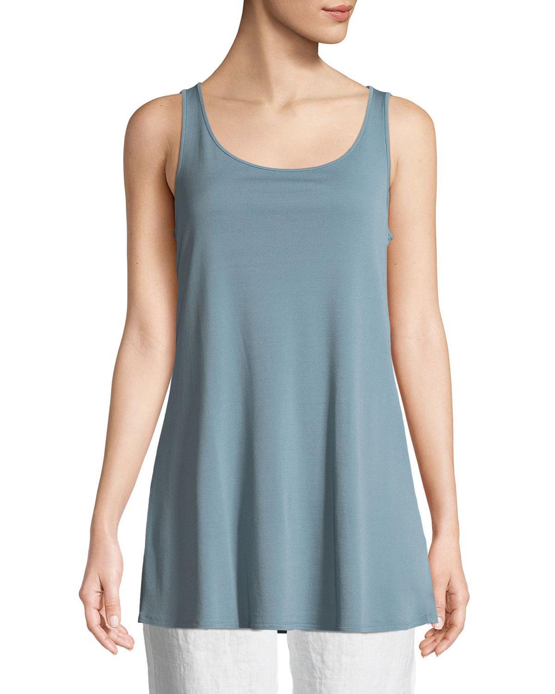 02cb470509 Eileen Fisher Stretch-Silk Jersey Sleeveless Tunic, Plus Size In Blue Steel