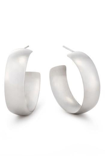 Lana Jewelry Curve Wide Bubble Hoop Earrings In White Gold