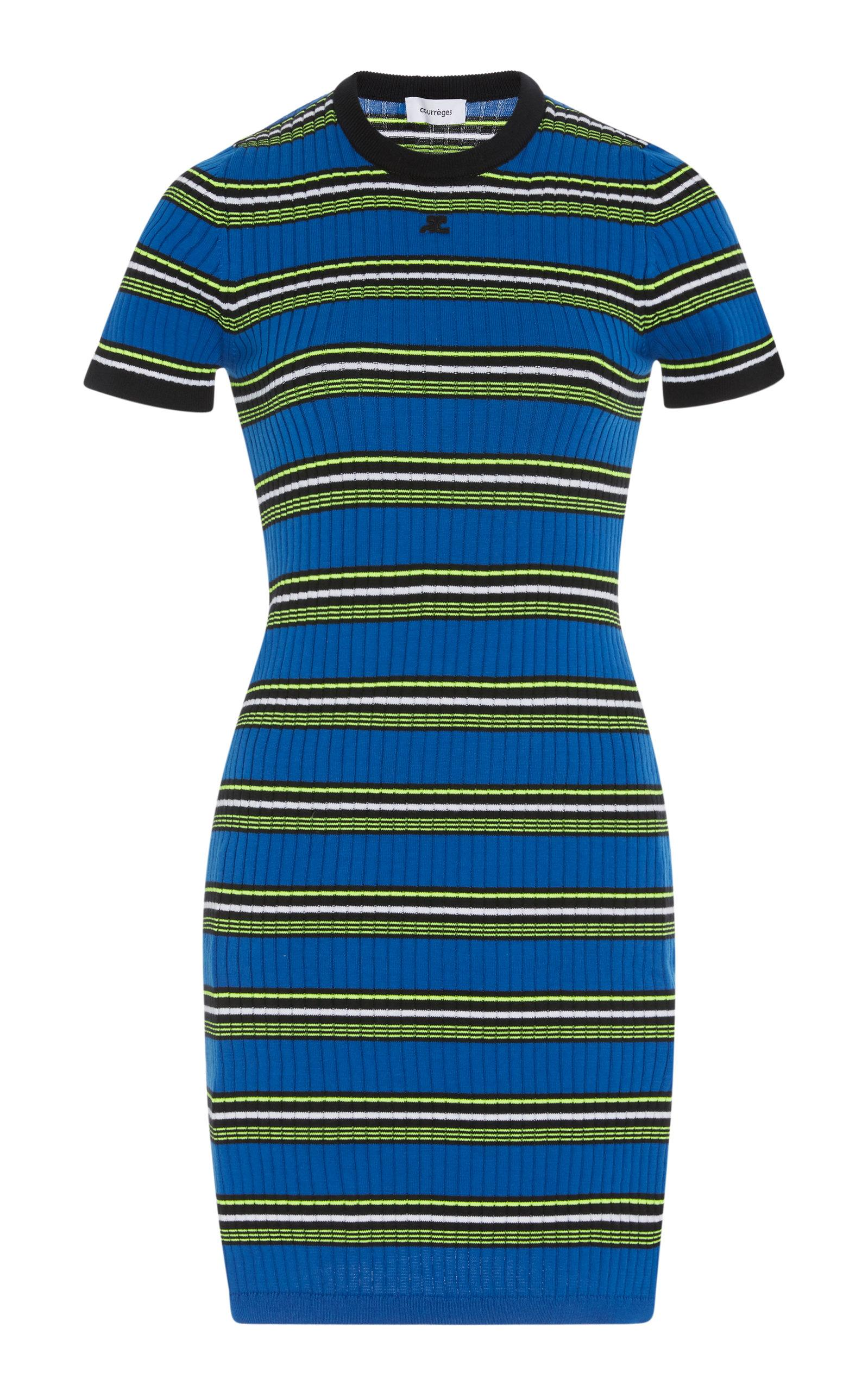 CourrÈGes Variegated Striped Knit Dress