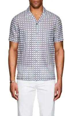 Giorgio Armani Abstract Linen-Cotton Shirt - White Pat.