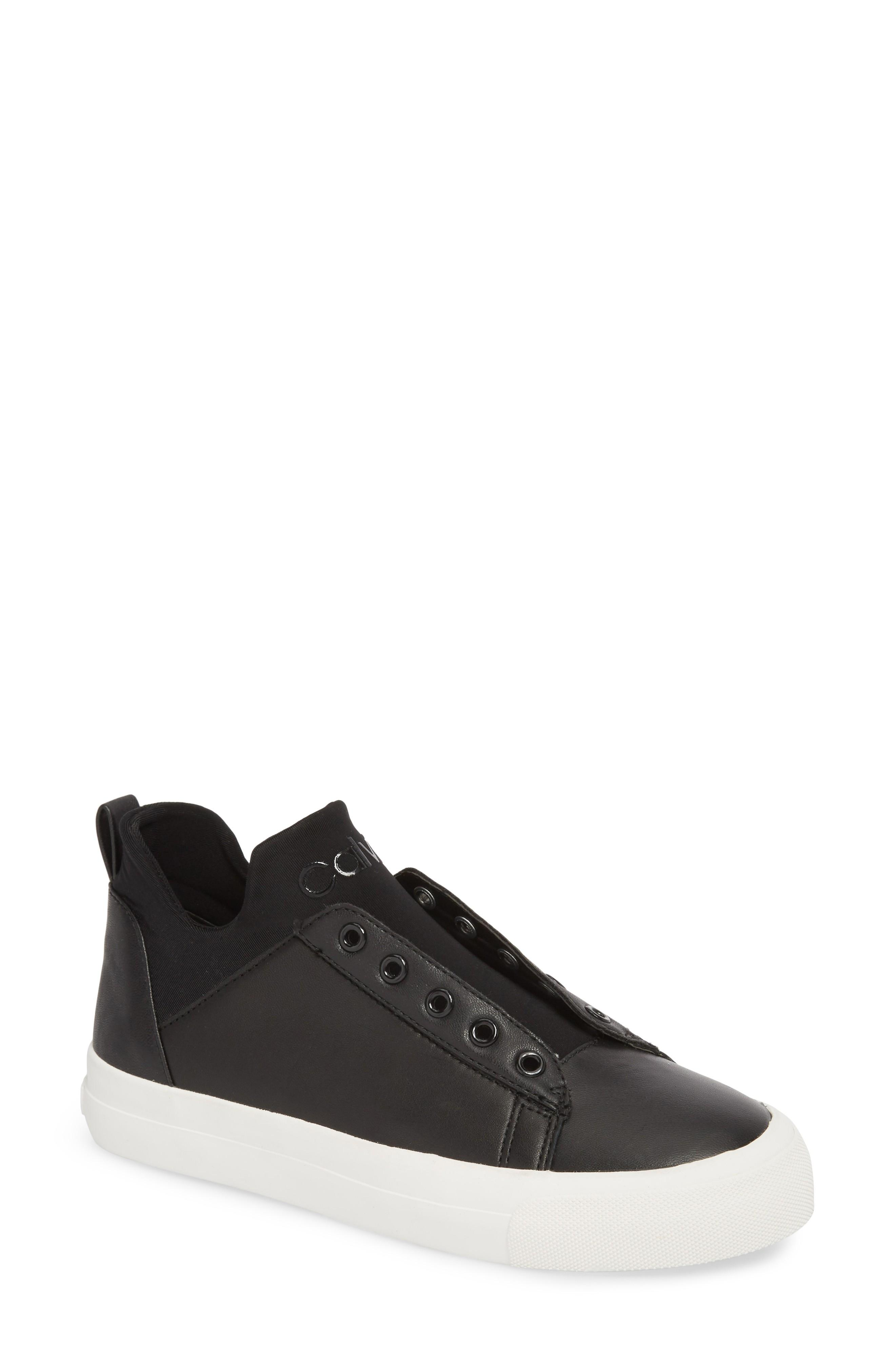 82de51b2278a49 Calvin Klein Valorie Mid Top Sneaker In Black Leather | ModeSens