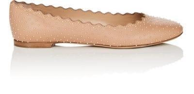 aa77a22d0d7 ChloÉ Lauren Scalloped Ballet Flats With Silver Studs In Nudeflesh ...