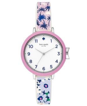 Kate Spade Park Row Silicone Strap Watch, 34Mm In Silver