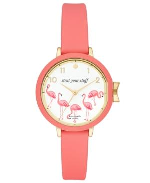 Kate Spade Park Row Silicone Strap Watch, 34Mm In Pink/ White/ Gold