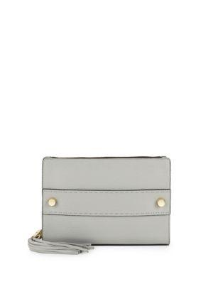 Milly Astor Tassel Pebble Leather Clutch In Grey