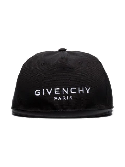 Givenchy Logo Embroidered Canvas Baseball Hat In Black