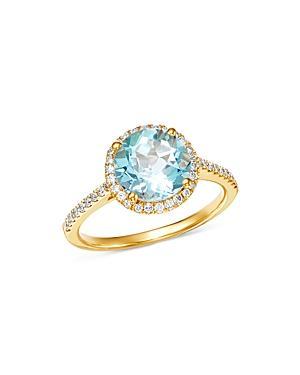 a15bf6c96 Kiki Mcdonough 18K Yellow Gold Grace Round Blue Topaz & Diamond Ring In Blue /Gold