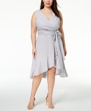 Plus-Size Cotton Faux-Wrap Dress in Black/White