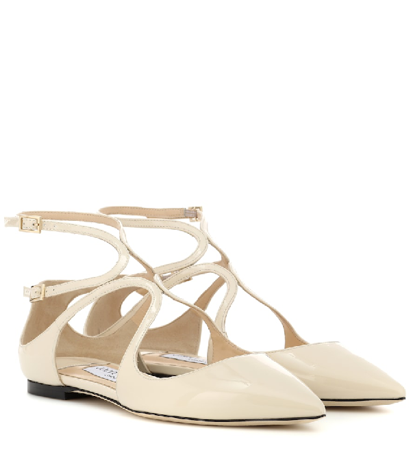 907cac59d Jimmy Choo Lancer Patent-Leather Point-Toe Flats In White   ModeSens