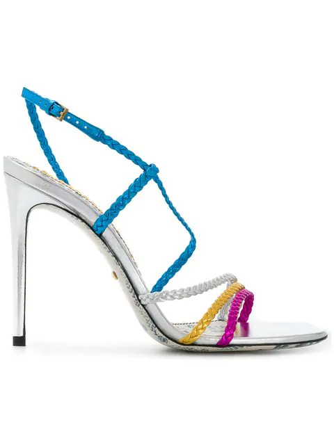 Gucci Braided Metallic Leather Slingback Sandals In Blue