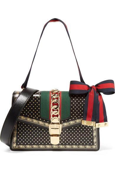5d81f8a4026221 Gucci Sylvie Small Chain-Embellished Printed Leather Shoulder Bag In Black