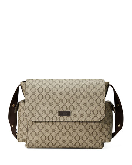 b22861764e3 Gucci Ssima Faux-Leather Diaper Bag W  Changing Pad In Beige  Cocoa