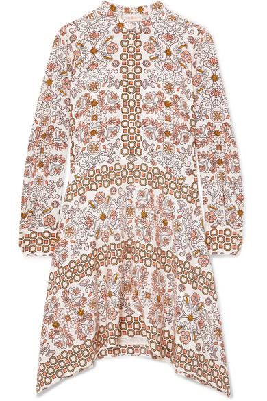 Tory Burch Celeste Printed Silk Mini Dress In Beige