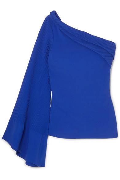 2232fd5e18f Brandon Maxwell One-Shoulder Pintucked Crepe Top In Royal Blue ...