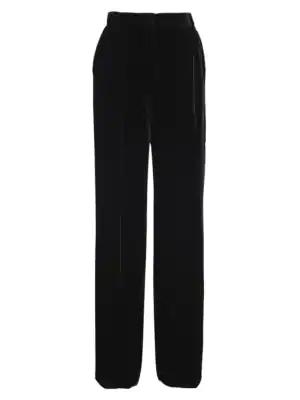 Fendi Velvet Wide-Leg Pants In Black