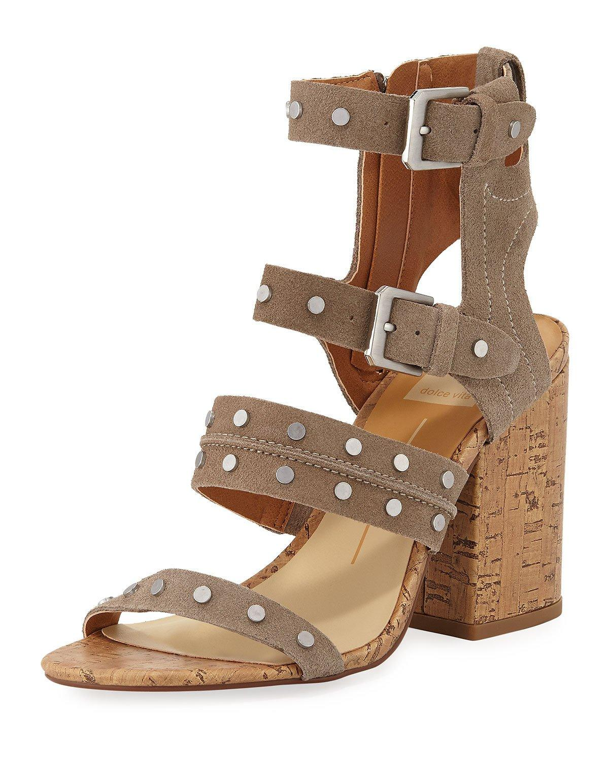 e777311b4c5d Dolce Vita Women s Eddie Suede High Block Heel Gladiator Sandals In Taupe