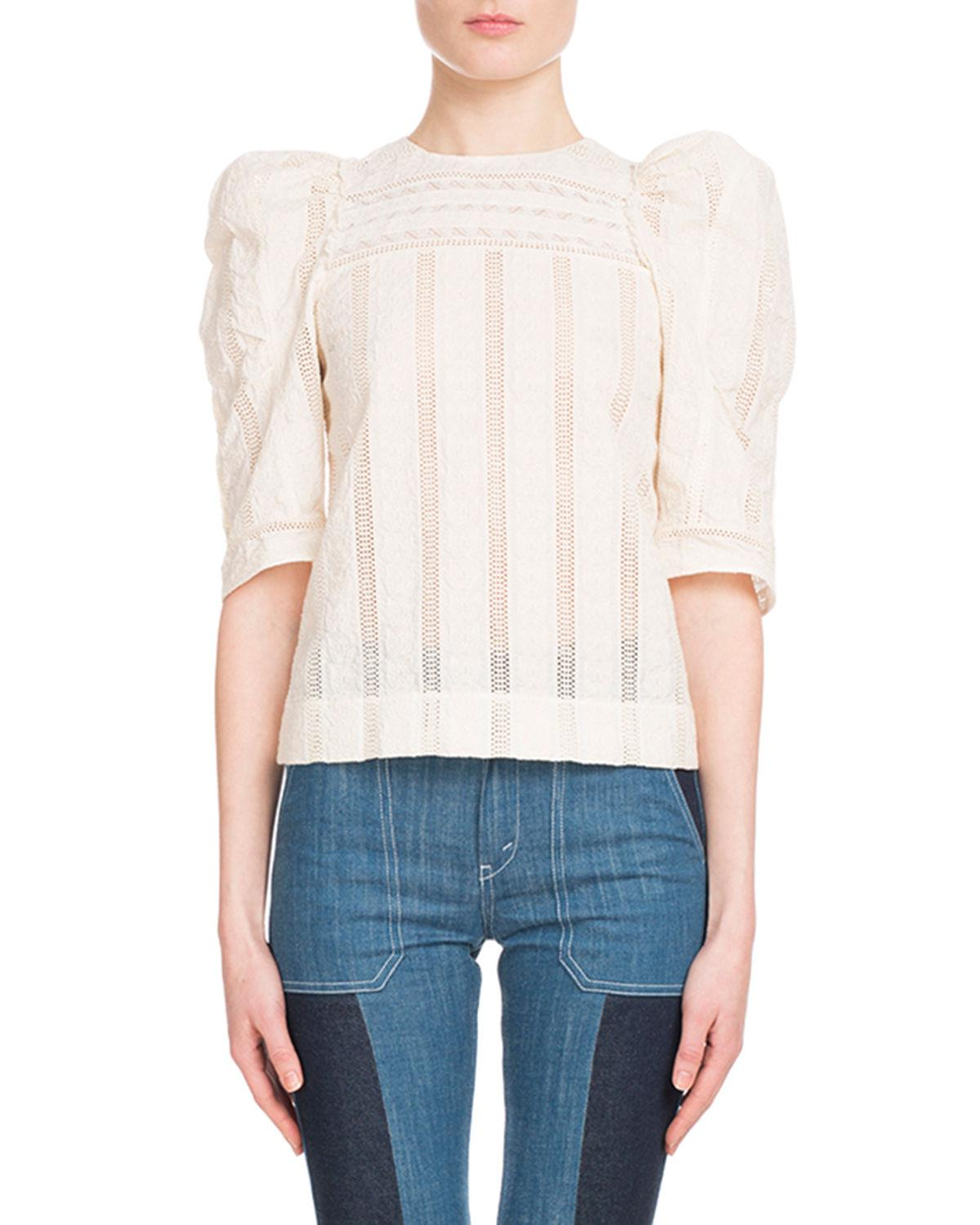 996b32bd9e8bdc ChloÉ Puff-Sleeve Embroidered Eyelet Cotton Top In White