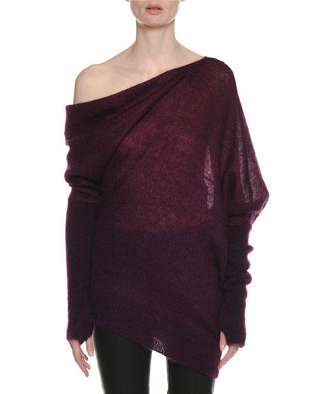 0a22cd471b7 Tom Ford One-Shoulder Long-Sleeve Mohair-Silk Sweater W  Thumbholes ...