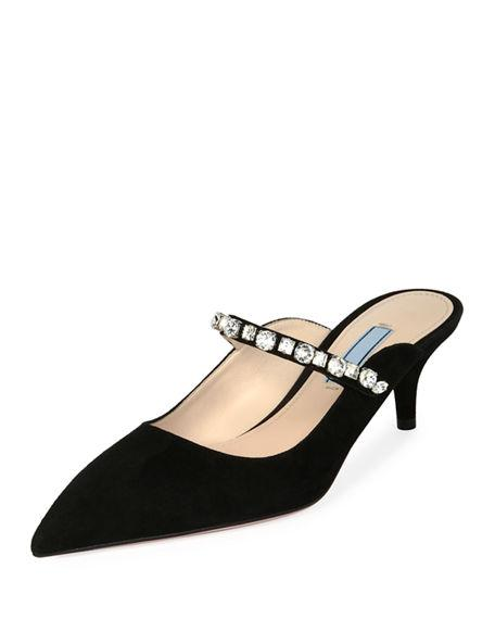eacbfd37a50ae Prada Crystal-Embellished Suede Mules - Nero In Black | ModeSens