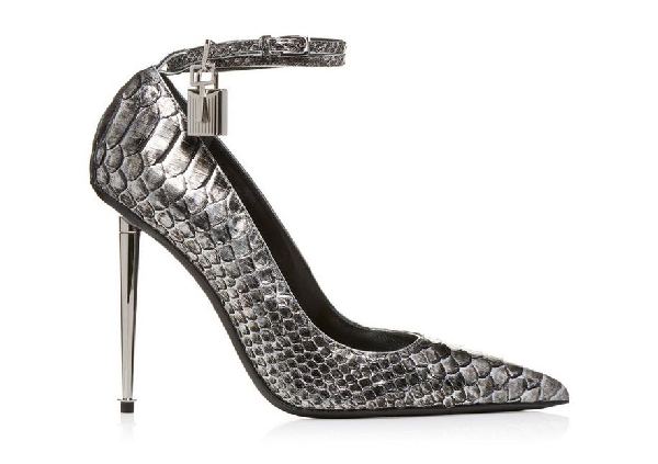 f66bb05377e Tom Ford Two-Tone Laminated Python Pumps In Silver