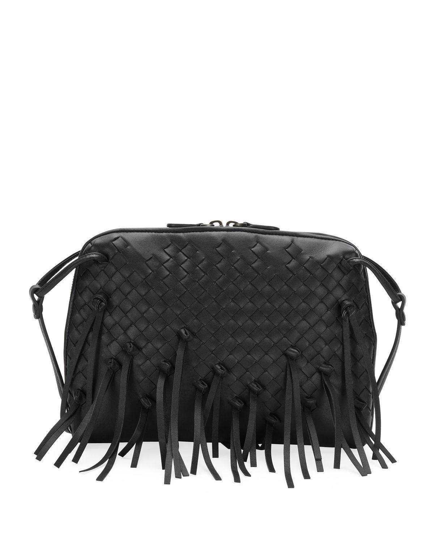 c520a523fe16 Bottega Veneta Nodini Fringe Leather Crossbody Bag - Black