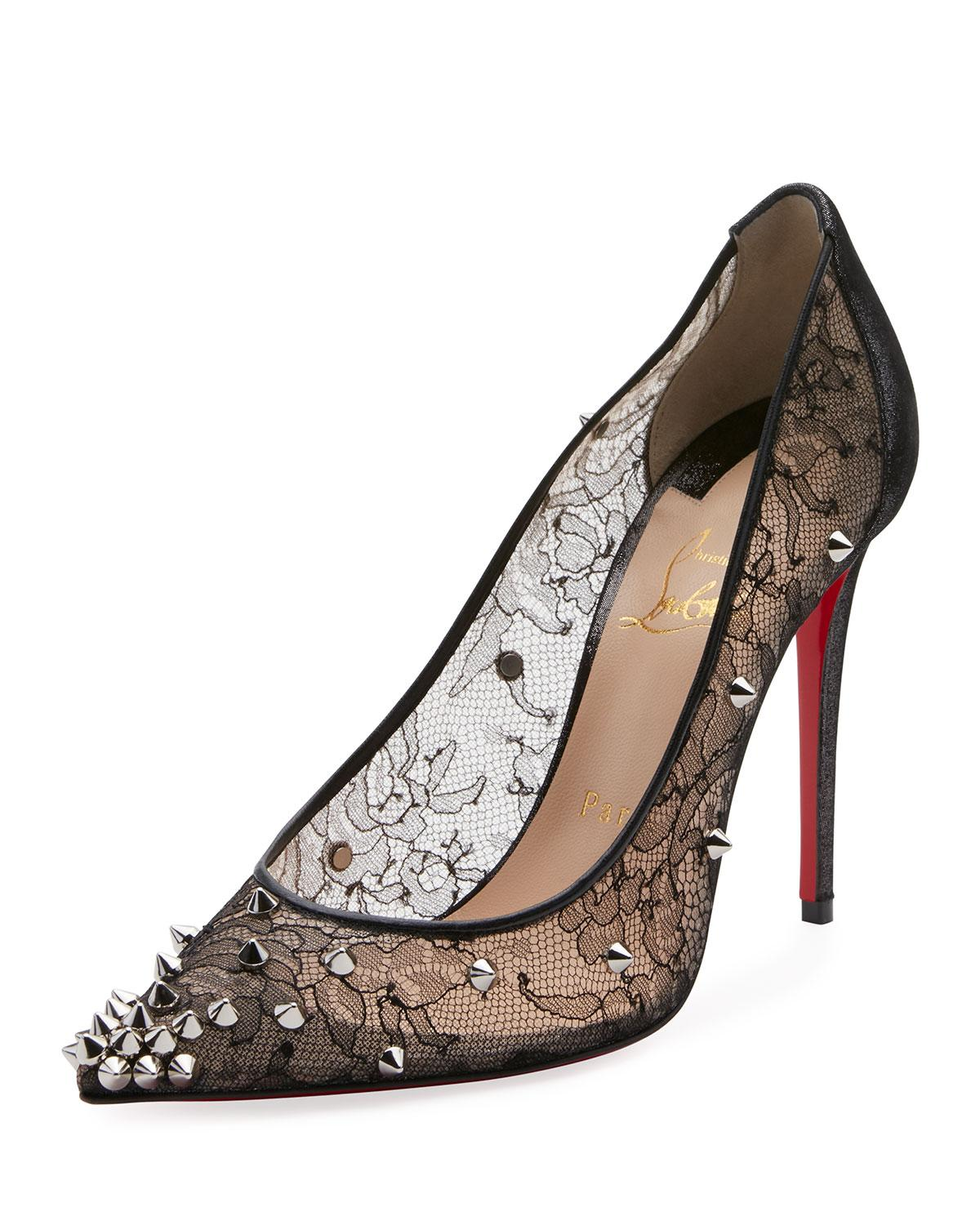 edd1e48ceec6 Christian Louboutin Decollete 554 Spiked Lace Red Sole Pumps In ...