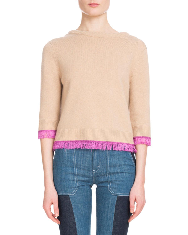 d0d7cb50e15ed6 ChloÉ 3/4-Sleeve Scoop-Back Cashmere Sweater W/ Fringe Hem In 280 ...