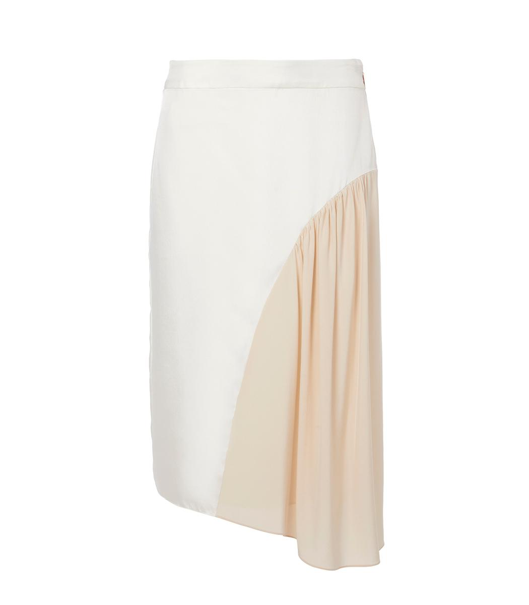 Tibi Ivory/Blush Multi Color Block Shirred Skirt